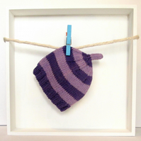 Baby Hat in Purple & Lilac Stripes Size 0 - 2 Months