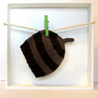 Baby Hat in Dark Brown & Light Brown Stripes Size 3 - 6 Months