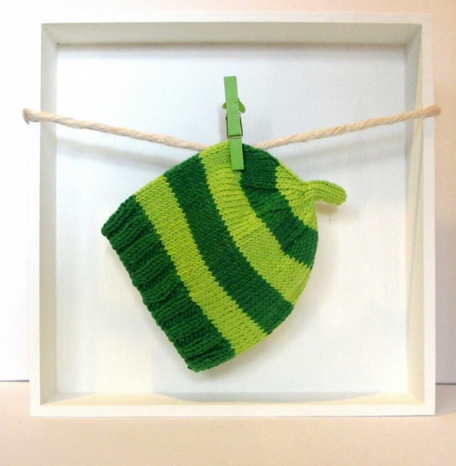 Baby Hat in Dark Green & Lime Green Stripes Size 3 - 6 Months