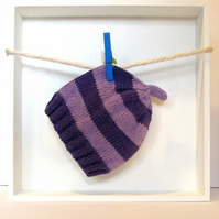 Baby Hat in Purple & Lilac Stripes Size 3 - 6 Months