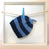 Baby Hat in Navy Blue & Sky Blue Stripes Size 3 - 6 Months
