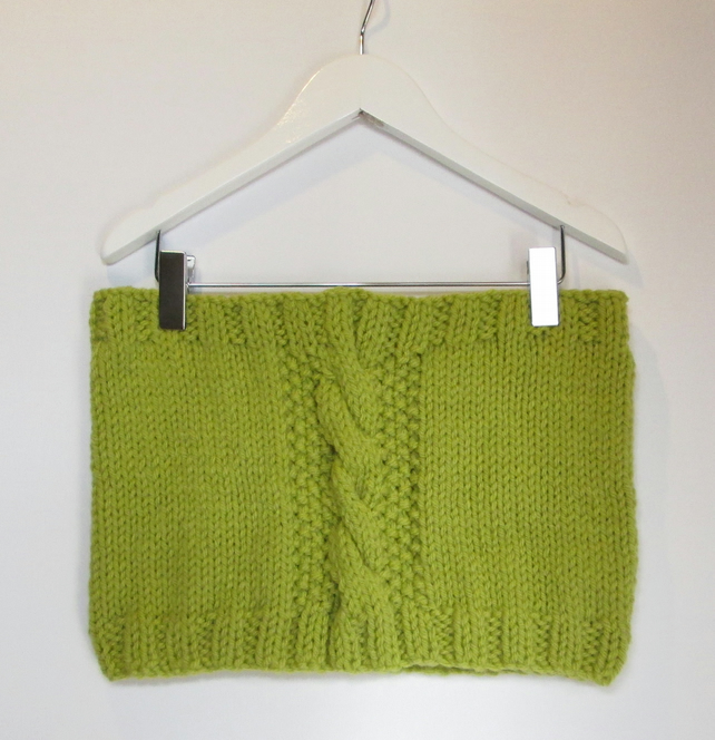 Cowl in Lime Green Chunky Wool