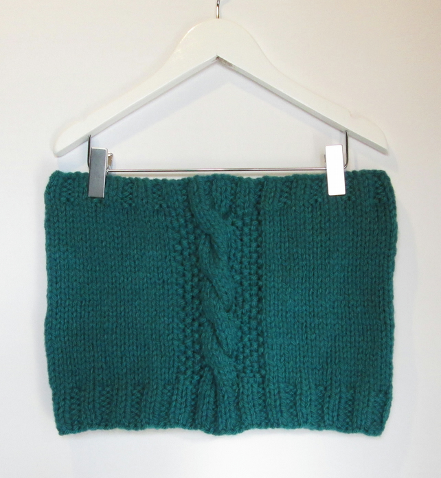 Cowl in Petrol Green Chunky Wool