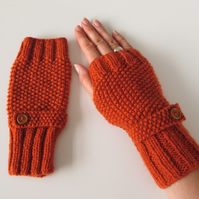 Fingerless Gloves in Burnt Orange Aran Wool
