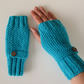 Fingerless Gloves in Turquoise Aran Wool