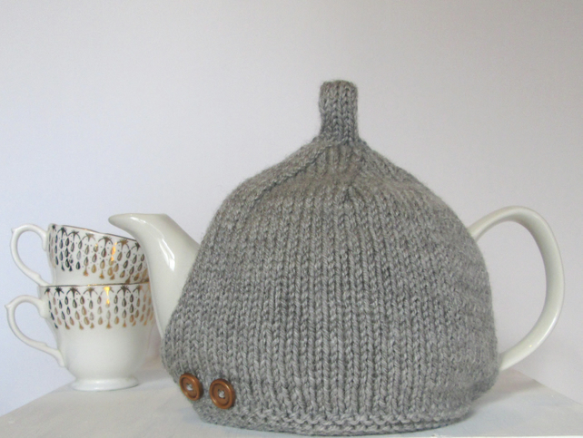 Tea Cosy in Grey Aran Wool