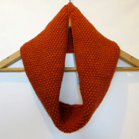 Cowl Infinity Scarf in Burnt Orange Alpaca Wool