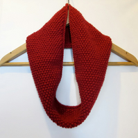 Cowl Infinity Scarf in Deep Red Alpaca Wool