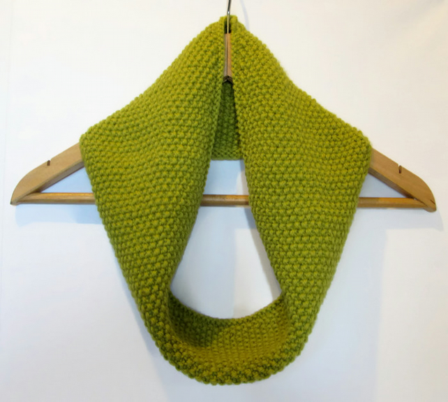 Cowl Infinity Scarf in Light Olive Green Alpaca Wool