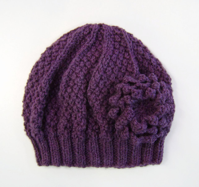 Beanie Hat in Heather Purple With Detachable Flower Brooch Hand Knitted