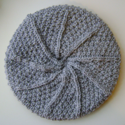 Beanie Hat in Light Grey Aran Wool