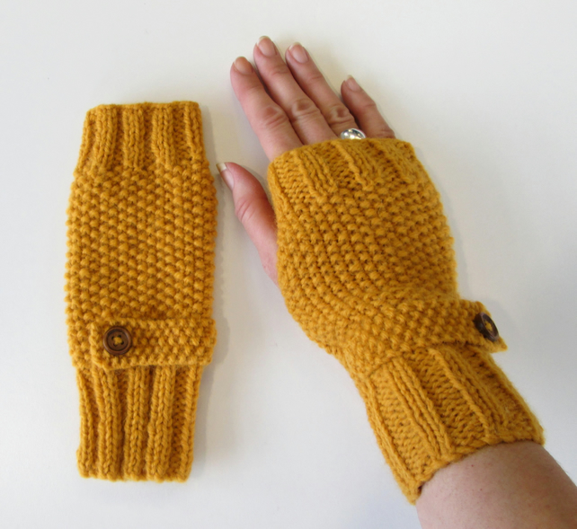 Fingerless Gloves in Mustard Aran Wool