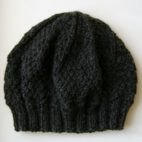 Beanie Hat in Charcoal Aran Wool