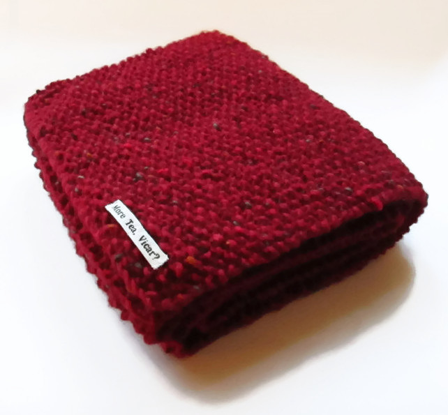 Scarf in Red Aran Tweed Wool