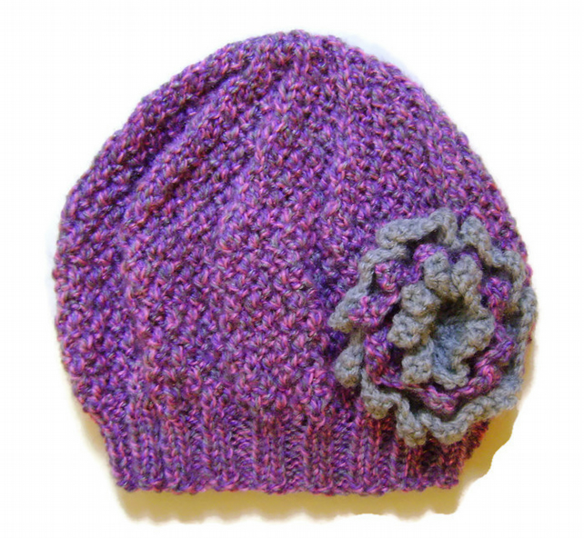 Girls Beanie Hat in Lilac Mix and Grey Size Small 2 to 4 years