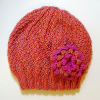 Girls Beanie Hat in Orange Mix & Strawberry Pink Size Small 2 to 4 years
