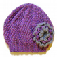 Girls Beanie Hat in Lilac Mix and Grey Size Medium 5 to 10 years