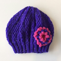 Girls Beanie Hat Purple & Strawberry Pink Size Medium 5 to 10 years