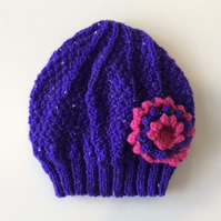 Girls Beanie Hat Purple & Strawberry Pink with Flower  - Size Small 2 to 4 years