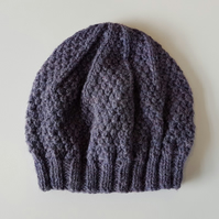Beanie Hat in Purple Heather Aran Wool