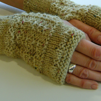 Fingerless Gloves Mittens Wrist Warmers in Sand Aran Wool