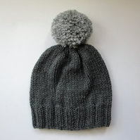 Bobble Hat in Grey Chunky Yarn with Light Grey Pom Pom