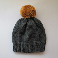 Bobble Hat in Grey Chunky Yarn with Mustard Pom Pom