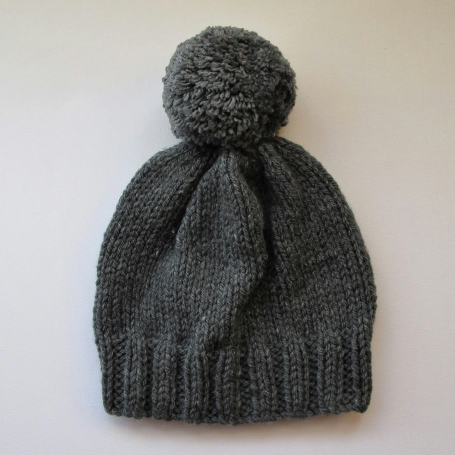 Bobble Hat in Grey Chunky Yarn