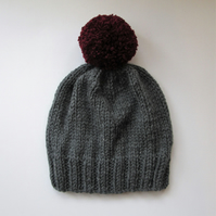 Bobble Hat in Grey Chunky Yarn with Burgandy Pom Pom
