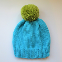 Bobble Hat in Aqua Blue Chunky Yarn with Green Pom Pom