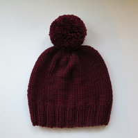Bobble Hat in Burgundy Chunky Yarn