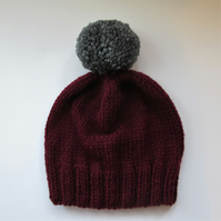 Bobble Hat in Burgundy Chunky Yarn with Grey Pom Pom