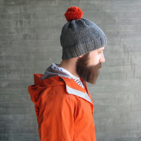 Bobble Hat in Grey Chunky Yarn with Burnt Orange Pom Pom