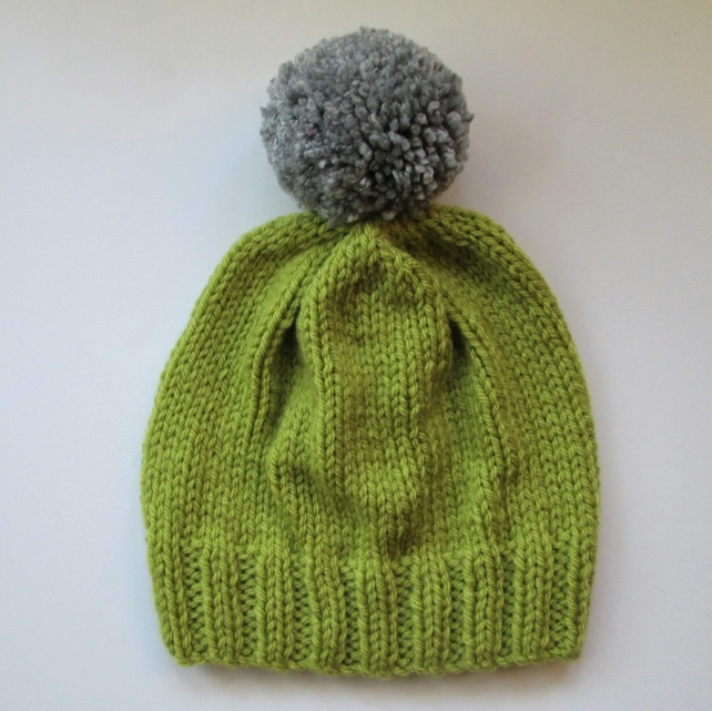 Bobble Hat in Lime Green Chunky Yarn with Grey Pom Pom