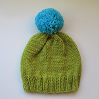 Bobble Hat in Lime Green Chunky Yarn with Blue Pom Pom