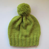 Bobble Hat in Lime Green Chunky Yarn