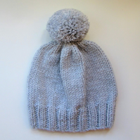 Bobble Hat in Pale Grey Chunky Yarn
