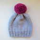 Bobble Hat in Pale Grey Chunky Yarn with Pink Pom Pom