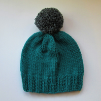 Bobble Hat in Petrol Green Chunky Yarn with Grey Pom Pom