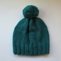 Bobble Hat in Petrol Green Chunky Yarn