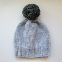 Bobble Hat in Pale Grey Chunky Yarn with Mid Grey Pom Pom