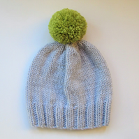 Bobble Hat in Pale Grey Chunky Yarn with Green Pom Pom