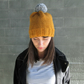 Bobble Hat in Mustard Chunky Yarn with Grey Pom Pom