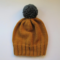 Bobble Hat in Mustard Chunky Yarn with Mid Grey Pom Pom