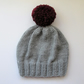 Bobble Hat in Light Grey Chunky Yarn with Burgundy Pom Pom