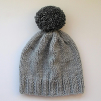 Bobble Hat in Light Grey Chunky Yarn with Mid Grey Pom Pom