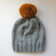 Bobble Hat in Light Grey Chunky Yarn with Mustard Pom Pom