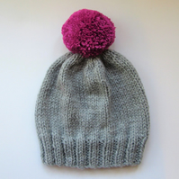 Bobble Hat in Light Grey Chunky Yarn with Pink Pom Pom