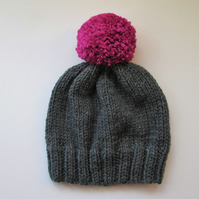 Bobble Hat in Grey Chunky Yarn with Pink Pom Pom