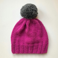 Bobble Hat in Pink Chunky Yarn with Grey Pom Pom